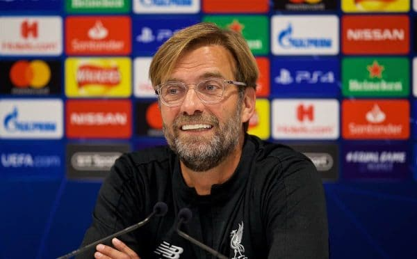 LIVERPOOL, ENGLAND - Tuesday, October 23, 2018: Liverpool's manager Jürgen Klopp during a press conference ahead of the UEFA Champions League Group C match between Liverpool FC and FK Crvena zvezda (Red Star Belgrade) at Anfield. (Pic by David Rawcliffe/Propaganda)