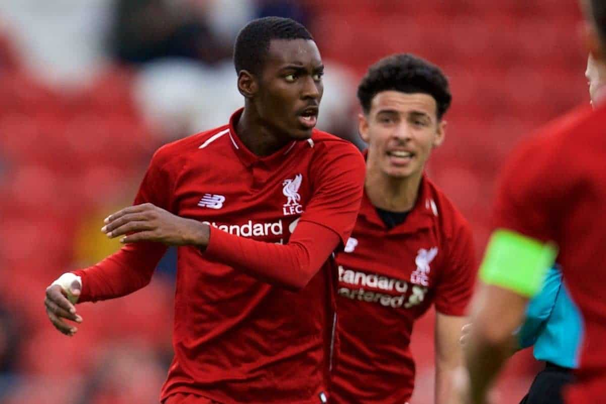 ST HELENS, ENGLAND - Wednesday, October 24, 2018: Liverpool's Rafael Camacho celebrates scoring the equalising goal during the UEFA Youth League Group C match between Liverpool FC and FK Crvena zvezda at Langtree Park. (Pic by David Rawcliffe/Propaganda)