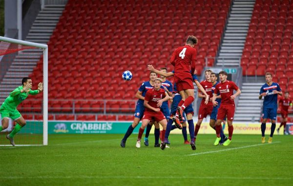 ST HELENS, ENGLAND - Wednesday, October 24, 2018: Liverpool's Rhys Williams scores the second goal during the UEFA Youth League Group C match between Liverpool FC and FK Crvena zvezda at Langtree Park. (Pic by David Rawcliffe/Propaganda)