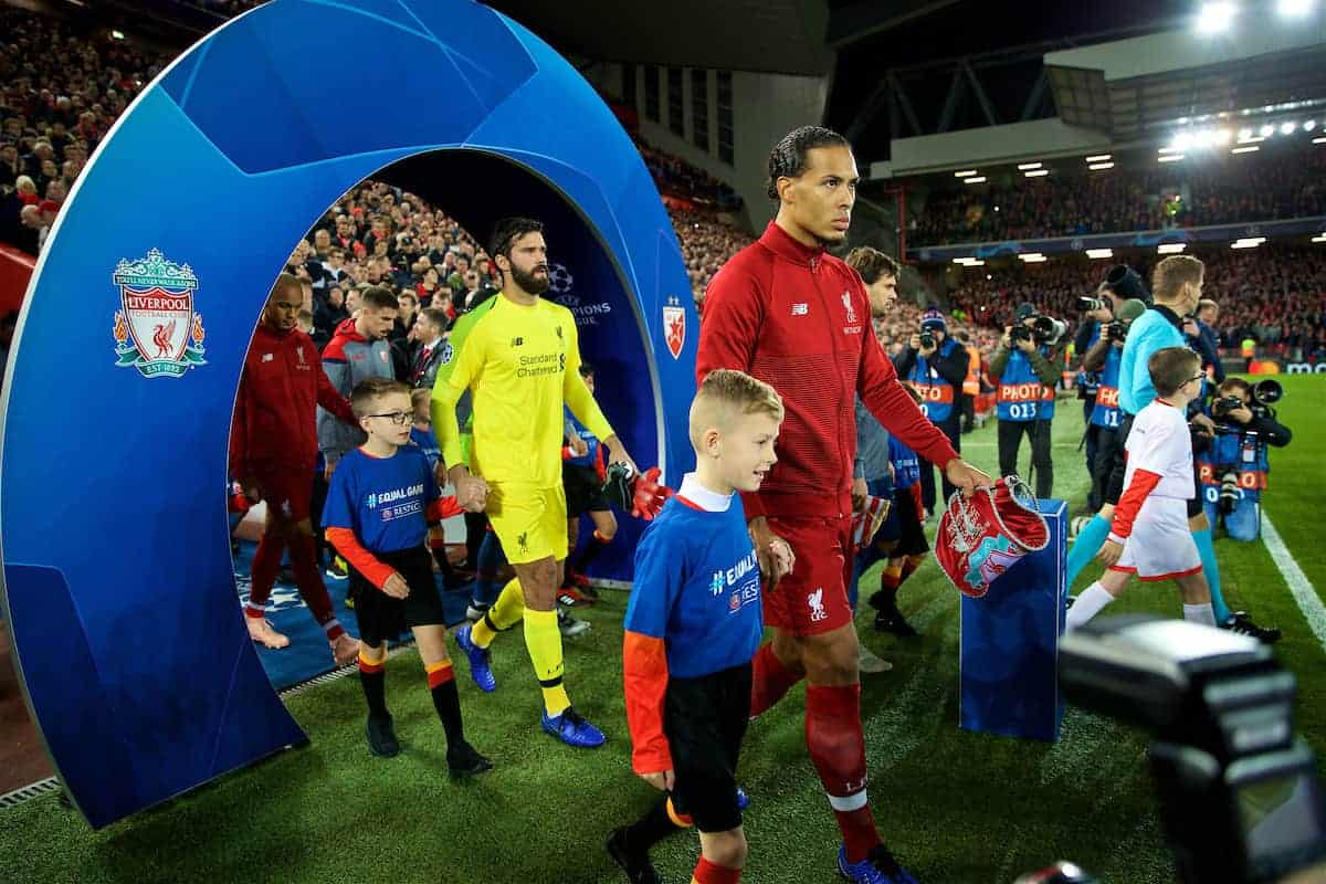 LIVERPOOL, ENGLAND - Wednesday, October 24, 2018: Liverpool's captain Virgil van Dijk leads his team out before the UEFA Champions League Group C match between Liverpool FC and FK Crvena zvezda (Red Star Belgrade) at Anfield. (Pic by David Rawcliffe/Propaganda)