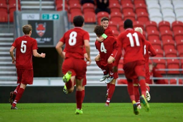 ST HELENS, ENGLAND - Wednesday, October 24, 2018: Liverpool's Rhys Williams celebrates scoring the second goal with team-mate captain Adam Lewis during the UEFA Youth League Group C match between Liverpool FC and FK Crvena zvezda at Langtree Park. (Pic by David Rawcliffe/Propaganda)