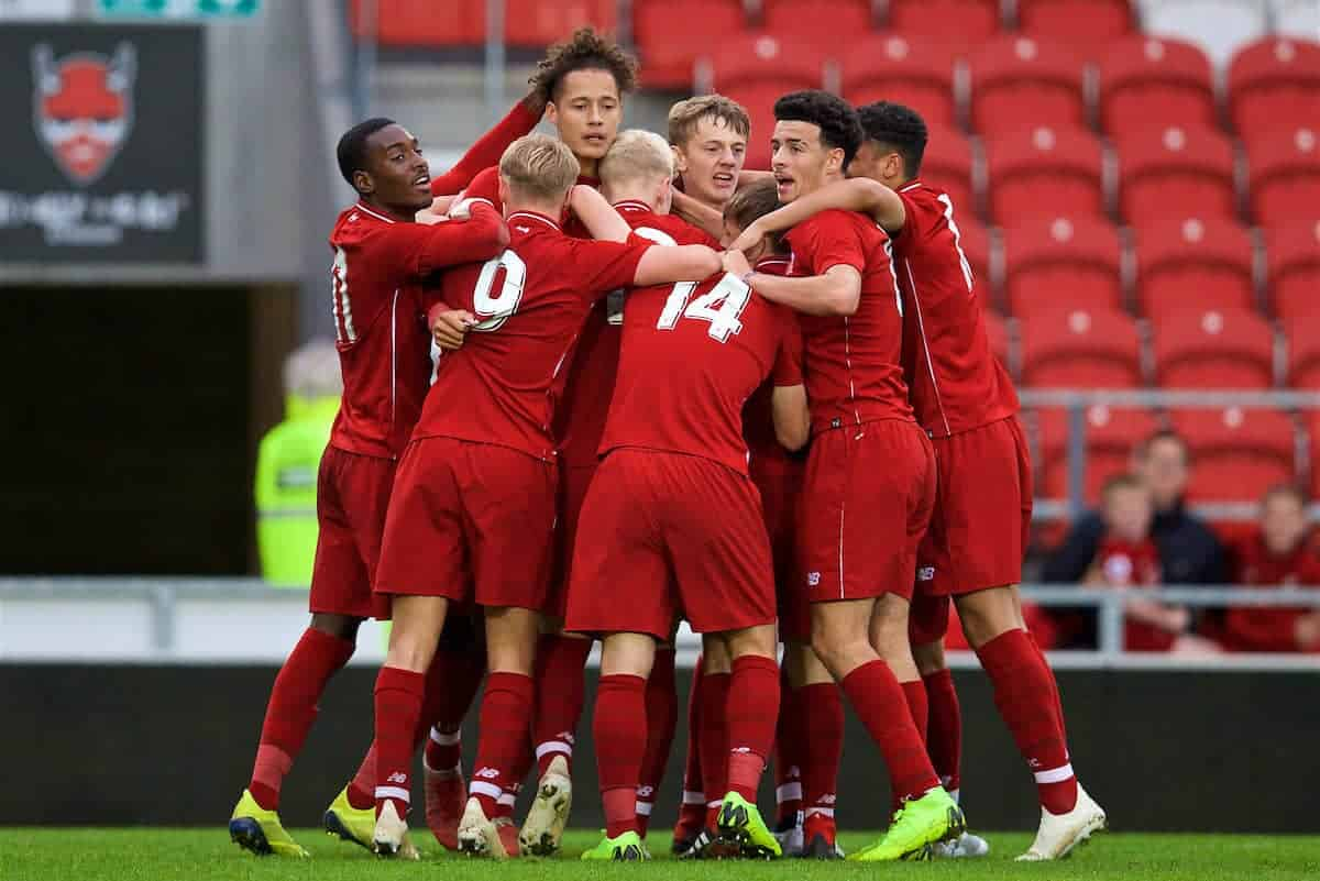 ST HELENS, ENGLAND - Wednesday, October 24, 2018: Liverpool's Rhys Williams (3rd from left) celebrates scoring the second goal with team-mates during the UEFA Youth League Group C match between Liverpool FC and FK Crvena zvezda at Langtree Park. (Pic by David Rawcliffe/Propaganda)