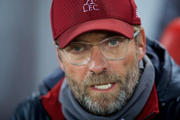 LIVERPOOL, ENGLAND - Wednesday, October 24, 2018: Liverpool's manager Jürgen Klopp before the UEFA Champions League Group C match between Liverpool FC and FK Crvena zvezda (Red Star Belgrade) at Anfield. (Pic by David Rawcliffe/Propaganda)