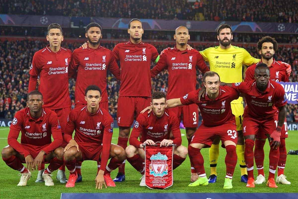 LIVERPOOL, ENGLAND - Wednesday, October 24, 2018: Liverpool's players line-up for a team group photograph before the UEFA Champions League Group C match between Liverpool FC and FK Crvena zvezda (Red Star Belgrade) at Anfield. Back row L-R: Roberto Firmino, Joe Gomez, captain Virgil van Dijk, Fabio Henrique Tavares 'Fabinho', goalkeeper Alisson Becker, Mohamed Salah. Front row L-R: Georginio Wijnaldum, Trent Alexander-Arnold, Andy Robertson, Xherdan Shaqiri, Sadio Mane. (Pic by David Rawcliffe/Propaganda)
