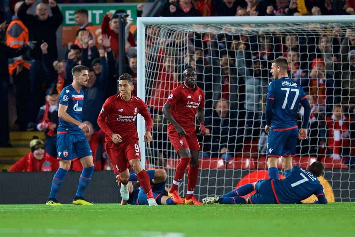 LIVERPOOL, ENGLAND - Wednesday, October 24, 2018: Liverpool's Roberto Firmino celebrates scoring the first goal during the UEFA Champions League Group C match between Liverpool FC and FK Crvena zvezda (Red Star Belgrade) at Anfield. (Pic by David Rawcliffe/Propaganda)