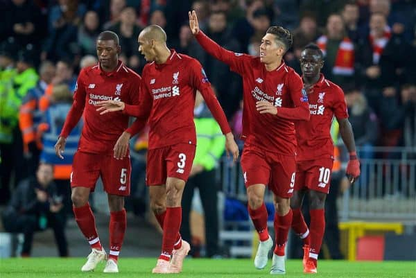 LIVERPOOL, ENGLAND - Wednesday, October 24, 2018: Liverpool's Roberto Firmino celebrates scoring the first goal with team-mates during the UEFA Champions League Group C match between Liverpool FC and FK Crvena zvezda (Red Star Belgrade) at Anfield. (Pic by David Rawcliffe/Propaganda)