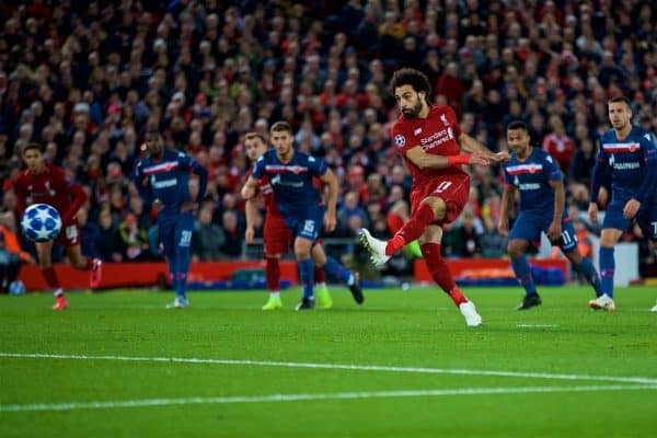 LIVERPOOL, ENGLAND - Wednesday, October 24, 2018: Liverpool's Mohamed Salah scores the third goal from a penalty kick during the UEFA Champions League Group C match between Liverpool FC and FK Crvena zvezda (Red Star Belgrade) at Anfield. (Pic by David Rawcliffe/Propaganda)