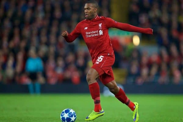 LIVERPOOL, ENGLAND - Wednesday, October 24, 2018: Liverpool's Daniel Sturridge during the UEFA Champions League Group C match between Liverpool FC and FK Crvena zvezda (Red Star Belgrade) at Anfield. (Pic by David Rawcliffe/Propaganda)