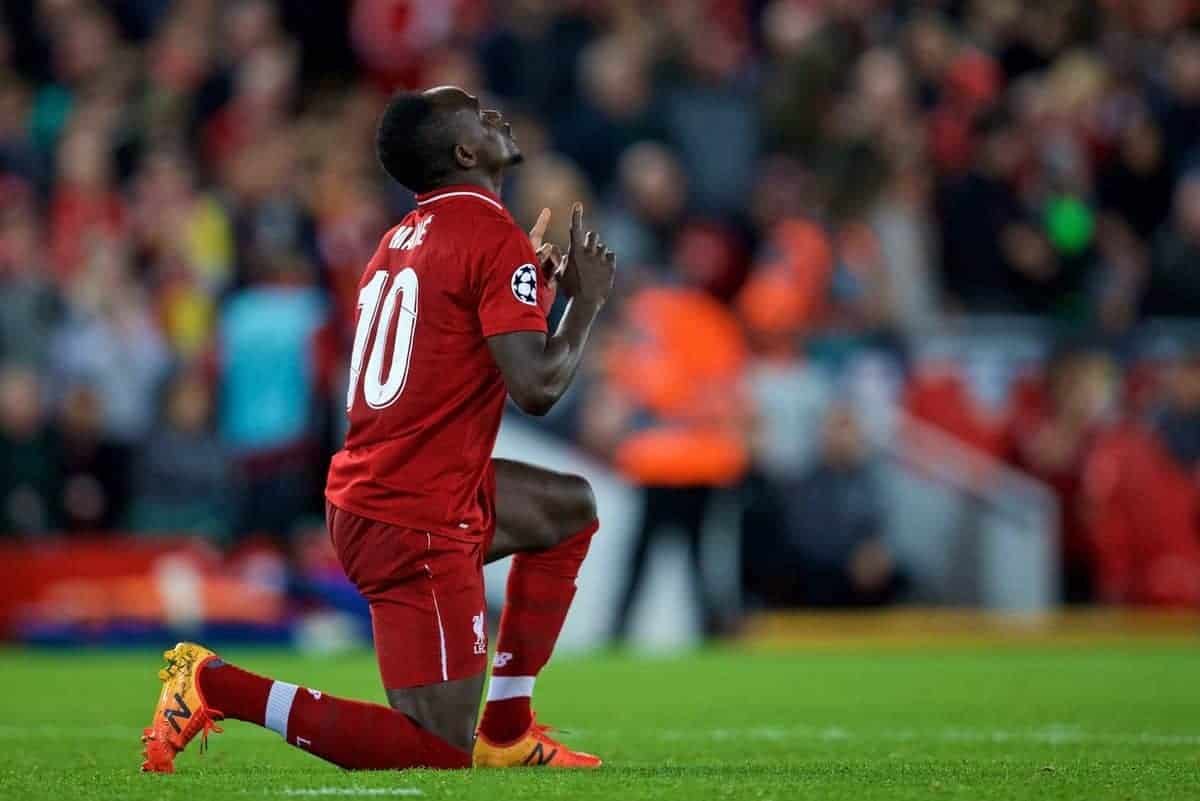 LIVERPOOL, ENGLAND - Wednesday, October 24, 2018: Liverpool's Sadio Mane kneels to pray as he celebrates scoring the fourth goal during the UEFA Champions League Group C match between Liverpool FC and FK Crvena zvezda (Red Star Belgrade) at Anfield. (Pic by David Rawcliffe/Propaganda)