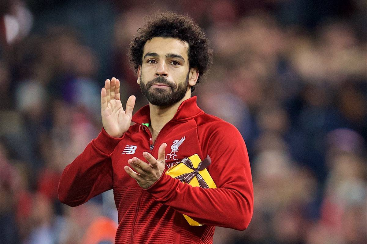 LIVERPOOL, ENGLAND - Wednesday, October 24, 2018: Liverpool's Mohamed Salah thanks supporters after the UEFA Champions League Group C match between Liverpool FC and FK Crvena zvezda (Red Star Belgrade) at Anfield. Liverpool won 4-0. (Pic by David Rawcliffe/Propaganda)