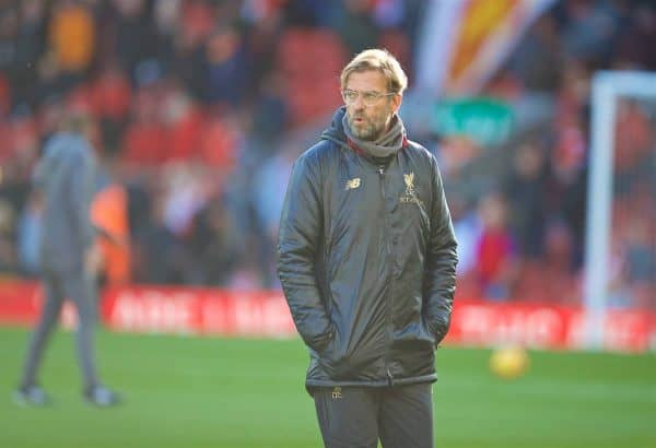LIVERPOOL, ENGLAND - Saturday, October 27, 2018: Liverpool's manager Jürgen Klopp before the FA Premier League match between Liverpool FC and Cardiff City FC at Anfield. (Pic by David Rawcliffe/Propaganda)