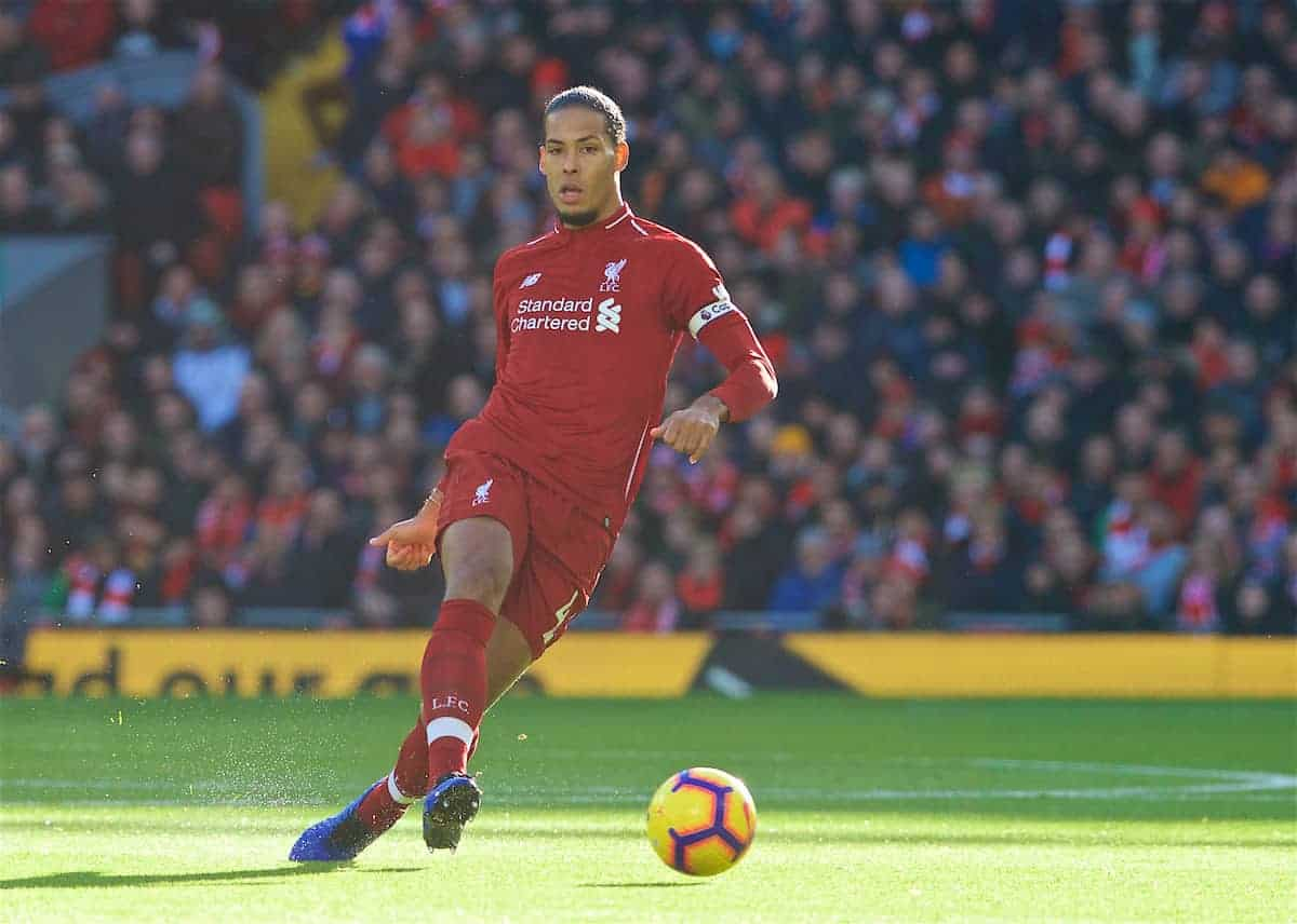 LIVERPOOL, ENGLAND - Saturday, October 27, 2018: Liverpool's captain Virgil van Dijk during the FA Premier League match between Liverpool FC and Cardiff City FC at Anfield. (Pic by David Rawcliffe/Propaganda)