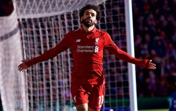 LIVERPOOL, ENGLAND - Saturday, October 27, 2018: Liverpool's Mohamed Salah celebrates scoring the first goal during the FA Premier League match between Liverpool FC and Cardiff City FC at Anfield. (Pic by David Rawcliffe/Propaganda)