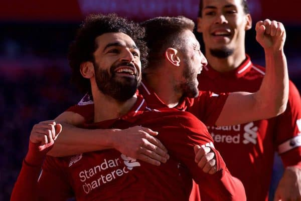 LIVERPOOL, ENGLAND - Saturday, October 27, 2018: Liverpool's Mohamed Salah celebrates scoring the first goal with team-mate Adam Lallana during the FA Premier League match between Liverpool FC and Cardiff City FC at Anfield. (Pic by David Rawcliffe/Propaganda)