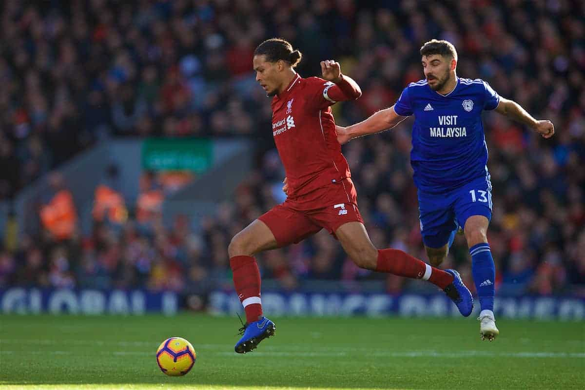 LIVERPOOL, ENGLAND - Saturday, October 27, 2018: Liverpool's captain Virgil van Dijk (L) gets away from Cardiff City's Callum Paterson during the FA Premier League match between Liverpool FC and Cardiff City FC at Anfield. (Pic by David Rawcliffe/Propaganda)