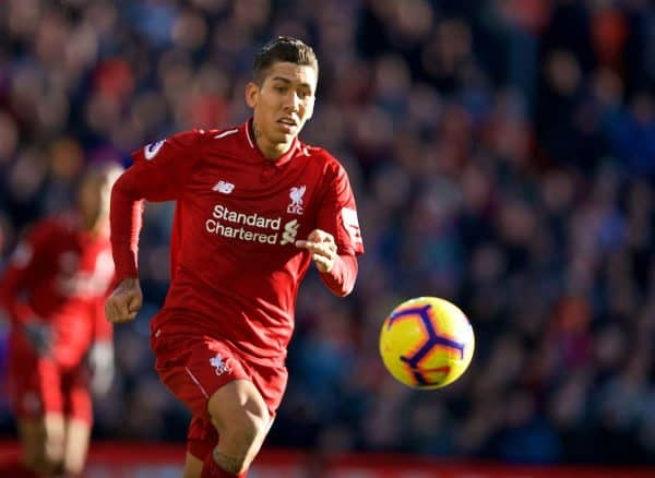 LIVERPOOL, ENGLAND - Saturday, October 27, 2018: Liverpool's Roberto Firmino during the FA Premier League match between Liverpool FC and Cardiff City FC at Anfield. (Pic by David Rawcliffe/Propaganda)