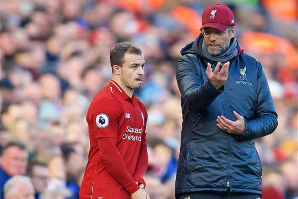 LIVERPOOL, ENGLAND - Saturday, October 27, 2018: Liverpool's manager Jürgen Klopp prepares to bring on substitute Xherdan Shaqiri during the FA Premier League match between Liverpool FC and Cardiff City FC at Anfield. (Pic by David Rawcliffe/Propaganda)