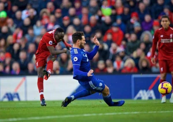 LIVERPOOL, ENGLAND - Saturday, October 27, 2018: Liverpool's Sadio Mane scores the second goal during the FA Premier League match between Liverpool FC and Cardiff City FC at Anfield. (Pic by David Rawcliffe/Propaganda)