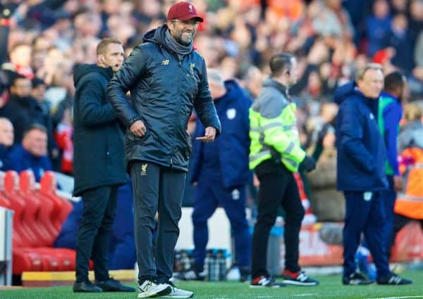 LIVERPOOL, ENGLAND - Saturday, October 27, 2018: Liverpool's manager Jürgen Klopp celebrates the second goal during the FA Premier League match between Liverpool FC and Cardiff City FC at Anfield. (Pic by David Rawcliffe/Propaganda)