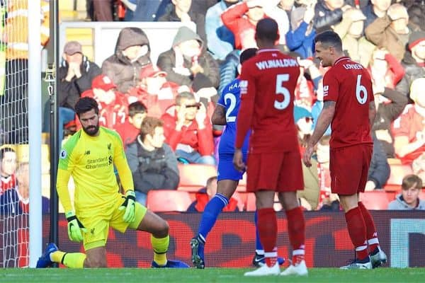 LIVERPOOL, ENGLAND - Saturday, October 27, 2018: Liverpool's goalkeeper Alisson Becker looks dejected as he lets the ball slip through his legs as Cardiff City's Callum Paterson scores the first goal during the FA Premier League match between Liverpool FC and Cardiff City FC at Anfield. (Pic by David Rawcliffe/Propaganda)