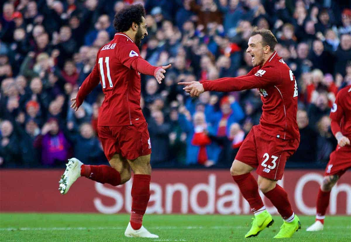 LIVERPOOL, ENGLAND - Saturday, October 27, 2018: Liverpool's Xherdan Shaqiri celebrates scoring the third goal with team-mate Mohamed Salah during the FA Premier League match between Liverpool FC and Cardiff City FC at Anfield. (Pic by David Rawcliffe/Propaganda)