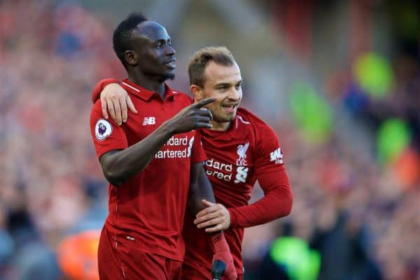 LIVERPOOL, ENGLAND - Saturday, October 27, 2018: Liverpool's Sadio Mane celebrates scoring the fourth goal with team-mate Xherdan Shaqiri during the FA Premier League match between Liverpool FC and Cardiff City FC at Anfield. (Pic by David Rawcliffe/Propaganda)