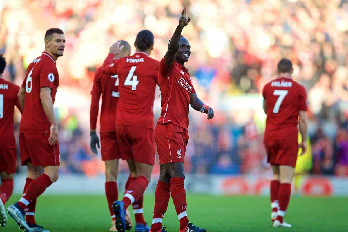 LIVERPOOL, ENGLAND - Saturday, October 27, 2018: Liverpool's Sadio Mane celebrates scoring the fourth goal during the FA Premier League match between Liverpool FC and Cardiff City FC at Anfield. (Pic by David Rawcliffe/Propaganda)