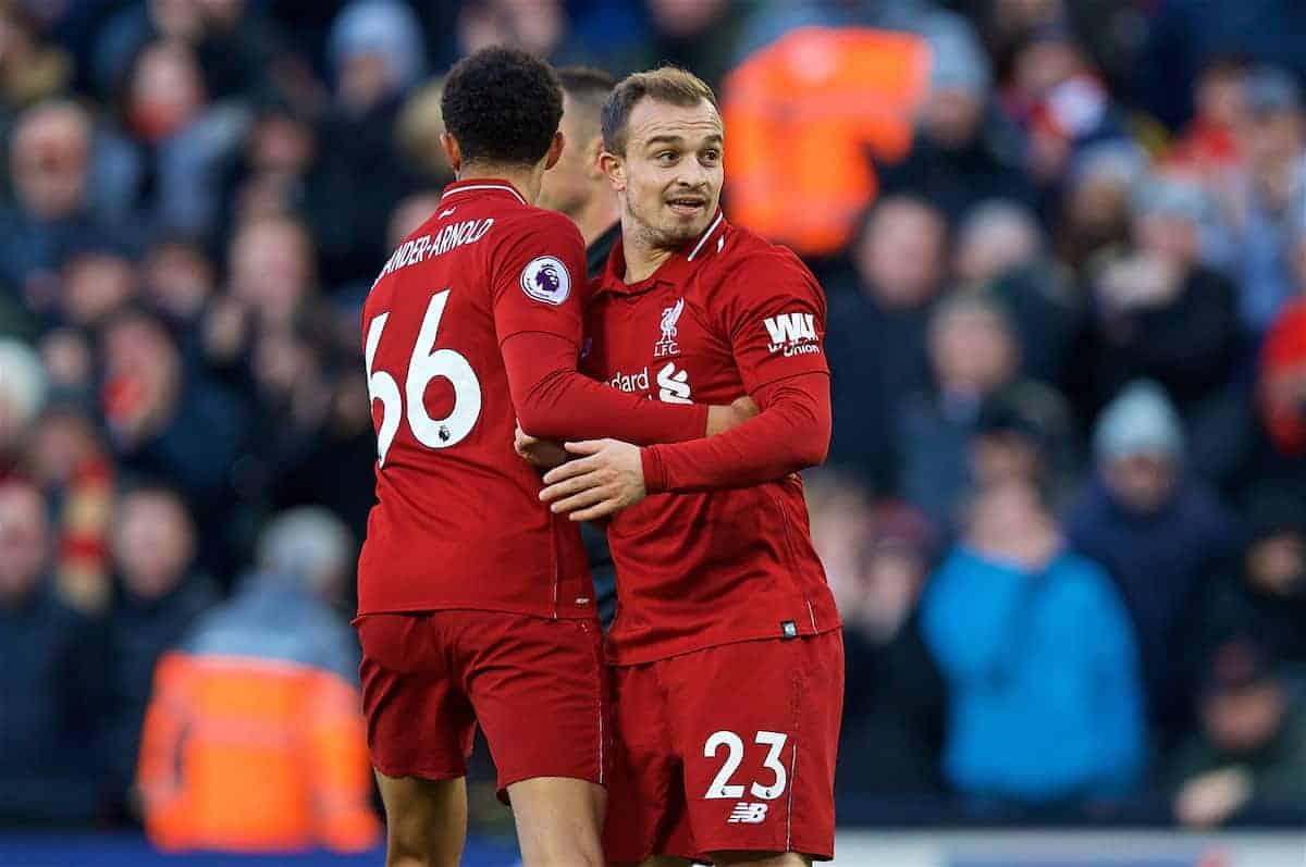 LIVERPOOL, ENGLAND - Saturday, October 27, 2018: Liverpool's Xherdan Shaqiri celebrates scoring the third goal with team-mate Trent Alexander-Arnold during the FA Premier League match between Liverpool FC and Cardiff City FC at Anfield. (Pic by David Rawcliffe/Propaganda)