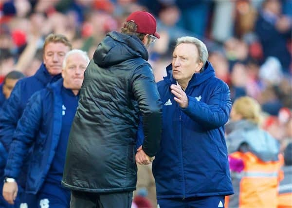 LIVERPOOL, ENGLAND - Saturday, October 27, 2018: Liverpool's manager Jürgen Klopp and Cardiff City's manager Neil Warnock shake hands after the FA Premier League match between Liverpool FC and Cardiff City FC at Anfield. Liverpool won 4-0. (Pic by David Rawcliffe/Propaganda)
