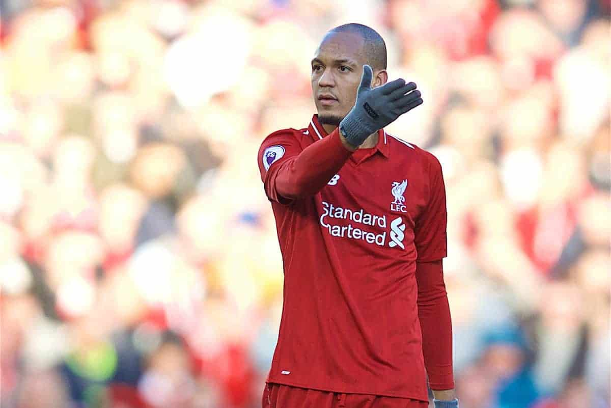 LIVERPOOL, ENGLAND - Saturday, October 27, 2018: Liverpool's Fabio Henrique Tavares 'Fabinho', wearing gloves, during the FA Premier League match between Liverpool FC and Cardiff City FC at Anfield. (Pic by David Rawcliffe/Propaganda)