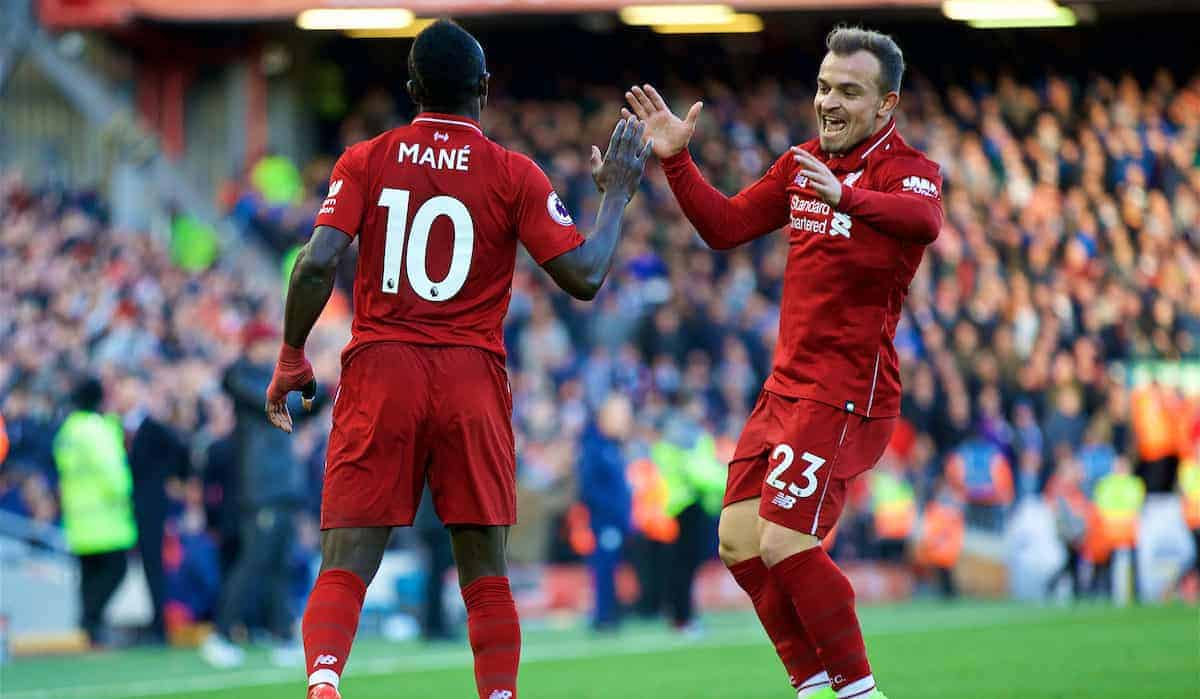 LIVERPOOL, ENGLAND - Saturday, October 27, 2018: Liverpool's Sadio Mane (L) celebrates scoring the fourth goal with team-mate Xherdan Shaqiri during the FA Premier League match between Liverpool FC and Cardiff City FC at Anfield. (Pic by David Rawcliffe/Propaganda)