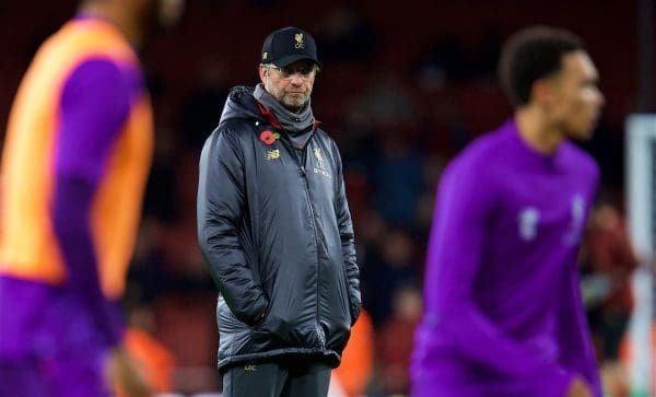 Jurgen Klopp, pre match, purple (Pic by David Rawcliffe/Propaganda)