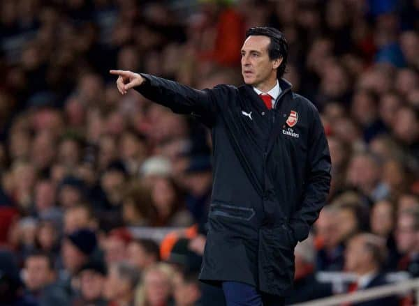LONDON, ENGLAND - Saturday, November 3, 2018: Arsenal's manager Unai Emery reacts during the FA Premier League match between Arsenal FC and Liverpool FC at Emirates Stadium. (Pic by David Rawcliffe/Propaganda)