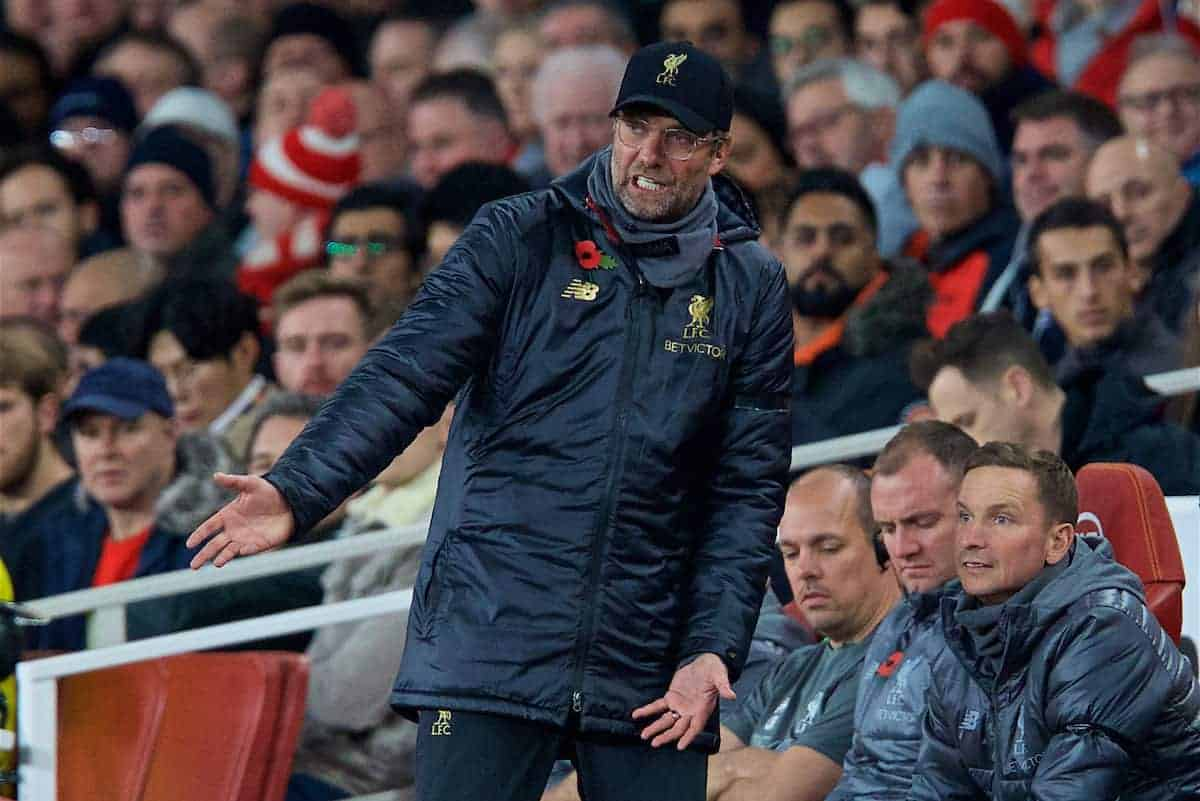 LONDON, ENGLAND - Saturday, November 3, 2018: Liverpool's manager Jürgen Klopp reacts during the FA Premier League match between Arsenal FC and Liverpool FC at Emirates Stadium. (Pic by David Rawcliffe/Propaganda)