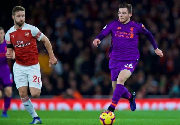 LONDON, ENGLAND - Saturday, November 3, 2018: Liverpool's Andy Robertson during the FA Premier League match between Arsenal FC and Liverpool FC at Emirates Stadium. (Pic by David Rawcliffe/Propaganda)