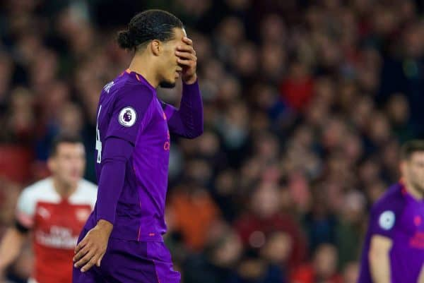 LONDON, ENGLAND - Saturday, November 3, 2018: Liverpool's captain Virgil van Dijk looks dejected after missing a chance during the FA Premier League match between Arsenal FC and Liverpool FC at Emirates Stadium. (Pic by David Rawcliffe/Propaganda)