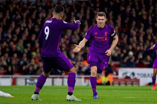 LONDON, ENGLAND - Saturday, November 3, 2018: Liverpool's James Milner (R) celebrates scoring the first goal with team-mate Roberto Firmino during the FA Premier League match between Arsenal FC and Liverpool FC at Emirates Stadium. (Pic by David Rawcliffe/Propaganda)