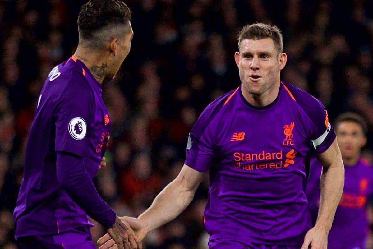 LONDON, ENGLAND - Saturday, November 3, 2018: Liverpool's James Milner celebrates scoring the first goal with team-mate Roberto Firmino during the FA Premier League match between Arsenal FC and Liverpool FC at Emirates Stadium. (Pic by David Rawcliffe/Propaganda)