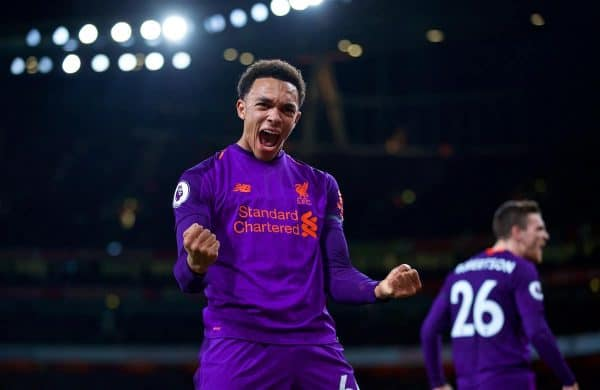 LONDON, ENGLAND - Saturday, November 3, 2018: Liverpool's Trent Alexander-Arnold celebrates the first goal during the FA Premier League match between Arsenal FC and Liverpool FC at Emirates Stadium. (Pic by David Rawcliffe/Propaganda)