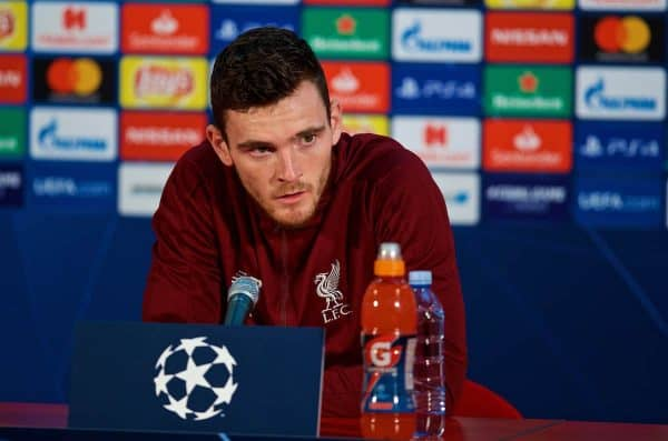 BELGRADE, SERBIA - Monday, November 5, 2018: Liverpool's Andy Robertson during a press conference ahead of the UEFA Champions League Group C match between FK Crvena zvezda (Red Star Belgrade) and Liverpool FC at Stadion Rajko Miti?. (Pic by David Rawcliffe/Propaganda)