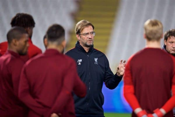 Liverpool's manager J¸rgen Klopp during a training session ahead of the UEFA Champions League Group C match between FK Crvena zvezda (Red Star Belgrade) and Liverpool FC at Stadion Rajko Miti?. (Pic by David Rawcliffe/Propaganda)