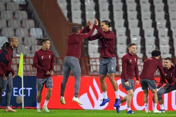 BELGRADE, SERBIA - Monday, November 5, 2018: Liverpool's Georginio Wijnaldum (L) and Virgil van Dijk (R) during a training session ahead of the UEFA Champions League Group C match between FK Crvena zvezda (Red Star Belgrade) and Liverpool FC at Stadion Rajko Miti?. (Pic by David Rawcliffe/Propaganda)