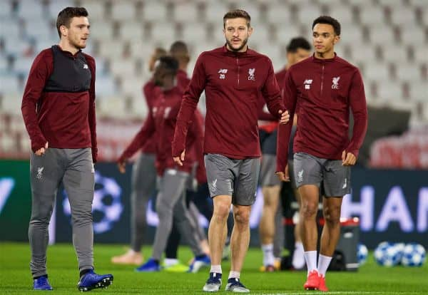 BELGRADE, SERBIA - Monday, November 5, 2018: Liverpool's L-R Andy Robertson, Adam Lallana and Trent Alexander-Arnold during a training session ahead of the UEFA Champions League Group C match between FK Crvena zvezda (Red Star Belgrade) and Liverpool FC at Stadion Rajko Miti?. (Pic by David Rawcliffe/Propaganda)