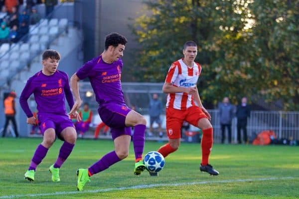 BELGRADE, SERBIA - Tuesday, November 6, 2018: Liverpool's Curtis Jones scores the first goal during the UEFA Youth League Group C match between FK Crvena zvezda Under-19's and Liverpool FC Under-19's at ?ukari?ki Stadium. (Pic by David Rawcliffe/Propaganda)