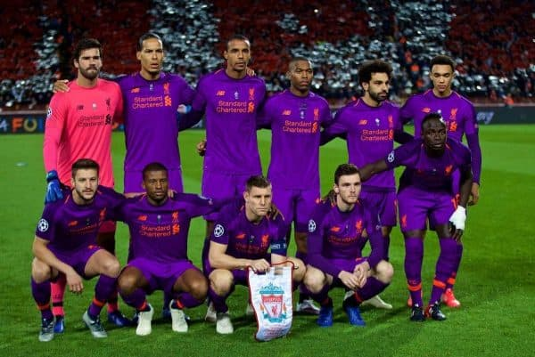 BELGRADE, SERBIA - Tuesday, November 6, 2018: Liverpool players line-up for a team group photograph before the UEFA Champions League Group C match between FK Crvena zvezda (Red Star Belgrade) and Liverpool FC at Stadion Rajko Miti?. (Pic by David Rawcliffe/Propaganda)