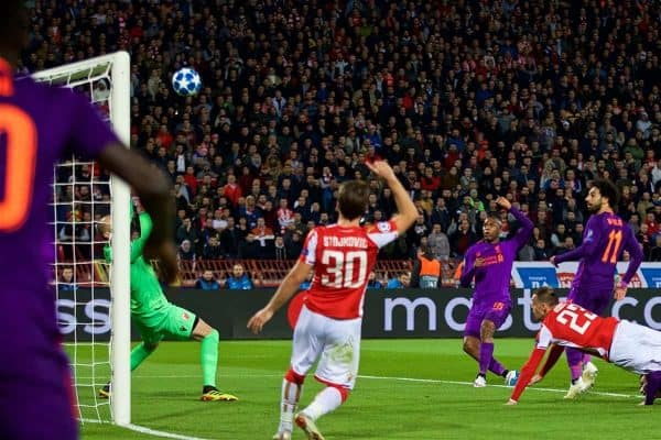 BELGRADE, SERBIA - Tuesday, November 6, 2018: Liverpool's Daniel Sturridge sends his shot over the bar during the UEFA Champions League Group C match between FK Crvena zvezda (Red Star Belgrade) and Liverpool FC at Stadion Rajko Miti?. (Pic by David Rawcliffe/Propaganda)
