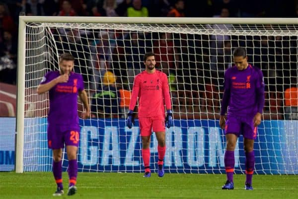 BELGRADE, SERBIA - Tuesday, November 6, 2018: Liverpool's goalkeeper Alisson Becker looks dejected as FK Crvena zvezda score the opening goal during the UEFA Champions League Group C match between FK Crvena zvezda (Red Star Belgrade) and Liverpool FC at Stadion Rajko Miti?. (Pic by David Rawcliffe/Propaganda)