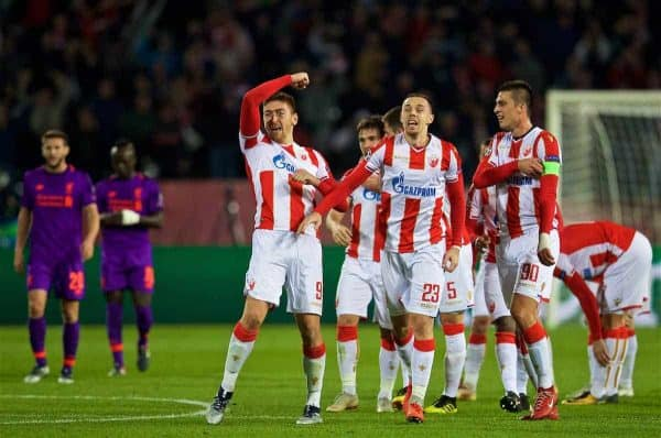 BELGRADE, SERBIA - Tuesday, November 6, 2018: FK Crvena zvezda Milan Pavkov (L) celebrates scoring the second goal during the UEFA Champions League Group C match between FK Crvena zvezda (Red Star Belgrade) and Liverpool FC at Stadion Rajko Miti?. (Pic by David Rawcliffe/Propaganda)