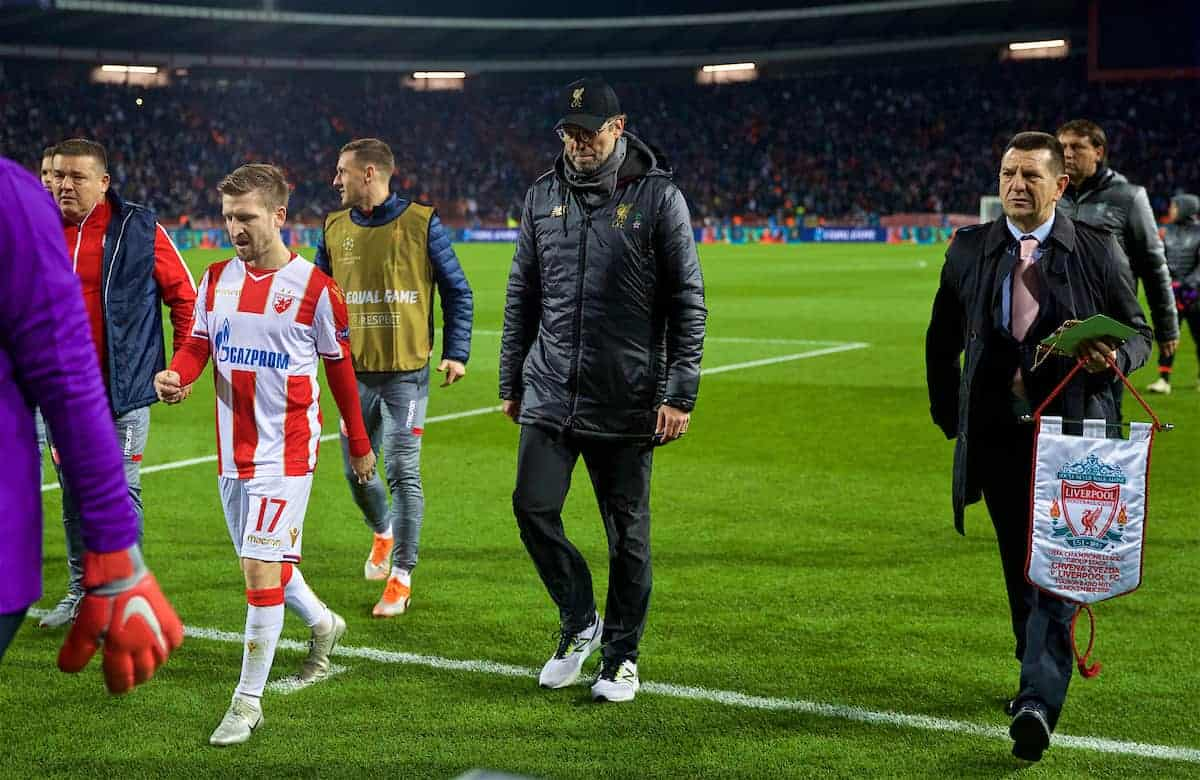BELGRADE, SERBIA - Tuesday, November 6, 2018: Liverpool's manager Jürgen Klopp walks to the tunnel at half-time with his side losing 2-0 during the UEFA Champions League Group C match between FK Crvena zvezda (Red Star Belgrade) and Liverpool FC at Stadion Rajko Miti?. (Pic by David Rawcliffe/Propaganda)