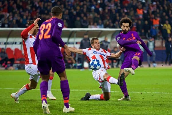 BELGRADE, SERBIA - Tuesday, November 6, 2018: Liverpool's Mohamed Salah sees his shot hit the post during the UEFA Champions League Group C match between FK Crvena zvezda (Red Star Belgrade) and Liverpool FC at Stadion Rajko Miti?. (Pic by David Rawcliffe/Propaganda)